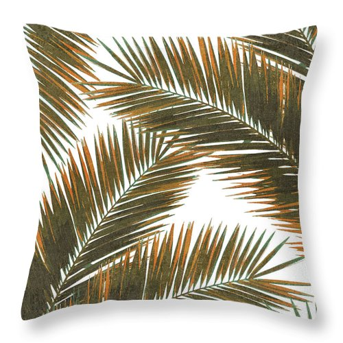 Tropical Palm Leaf Throw Pillow featuring the mixed media Tropical Palm Leaf Pattern 6 - Tropical Wall Art - Summer Vibes - Modern, Minimal - Brown, Copper by Studio Grafiikka
