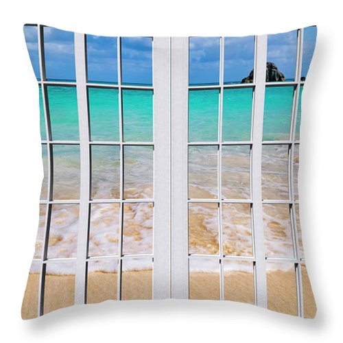 Bermuda Throw Pillow featuring the photograph Tropical Paradise Beach Day Windows by Betsy Knapp