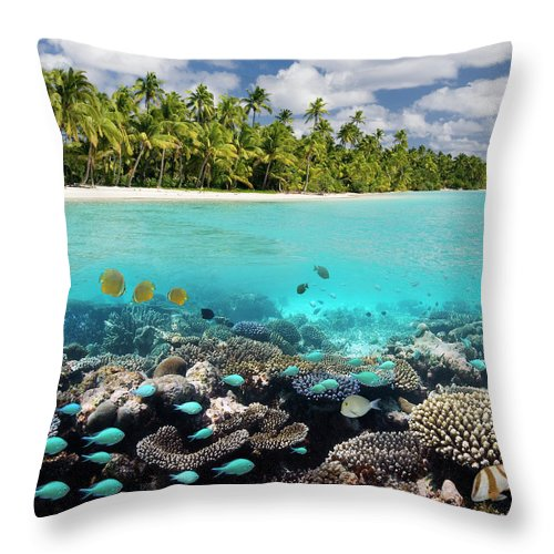 Underwater Throw Pillow featuring the photograph Tropical Paradise - The Maldives by Steve Allen