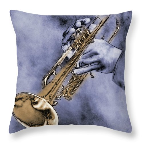 One Man Only Throw Pillow featuring the digital art Trumpet Player by Nick White