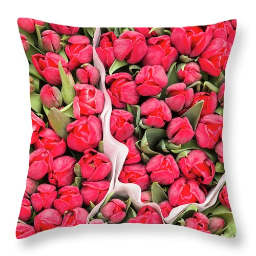 North Holland Throw Pillow featuring the photograph Tulips For Sale At A Flower Market by P A Thompson