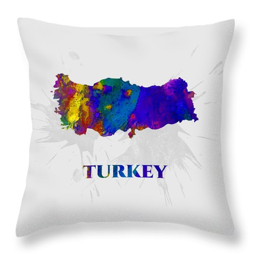 Turkey Throw Pillow featuring the mixed media Turkey, Map, Artist Singh by Artist Singh MAPS