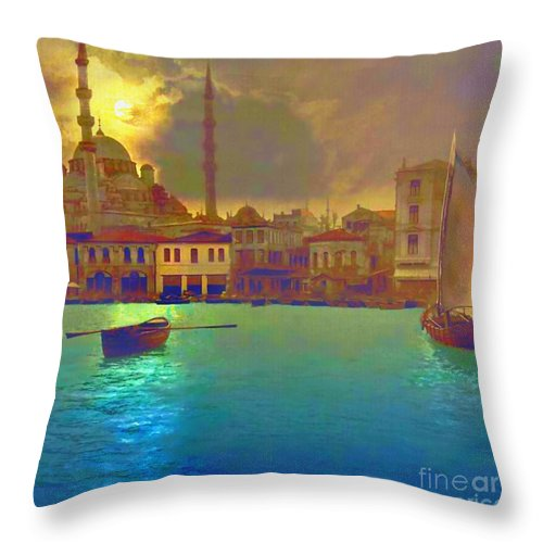 Turkey Throw Pillow featuring the painting Turkish Moonlight by S Seema Z