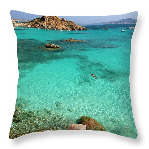 Scenics Throw Pillow featuring the photograph Turquoise Sea And Boats At La Maddalena by Vito elefante