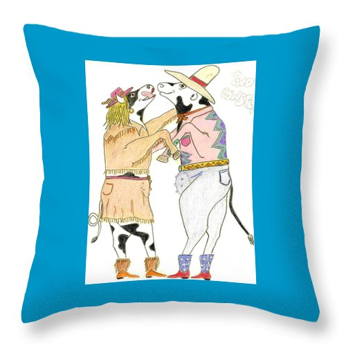 Art Throw Pillow featuring the sculpture Two Cowsteppin' by Michael Pasko
