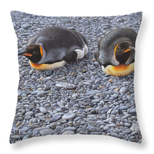 Alan M Hunt Throw Pillow featuring the painting Two King Penguins By Alan M Hunt by Alan M Hunt