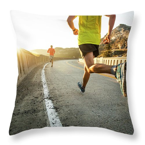 Scenics Throw Pillow featuring the photograph Two Men On An Early Morning Run by Jordan Siemens