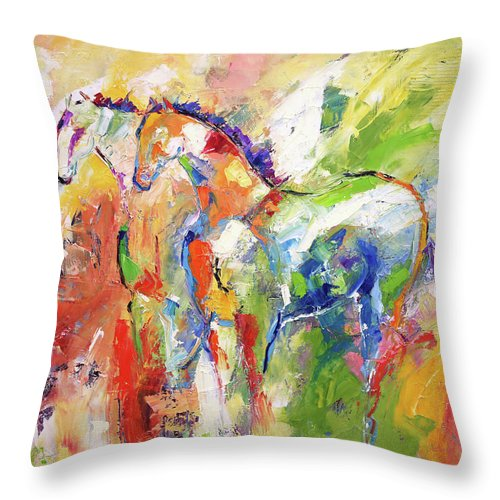 Wild Horse Painting Throw Pillow featuring the painting Two Together Always by Laurie Pace