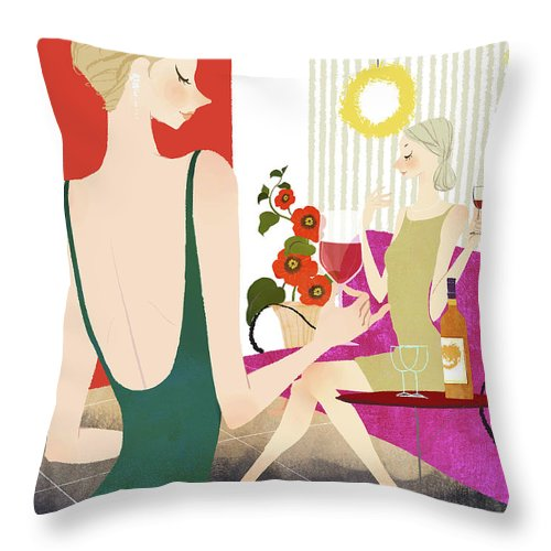 People Throw Pillow featuring the digital art Two Woman Drinking Wine by Eastnine Inc.