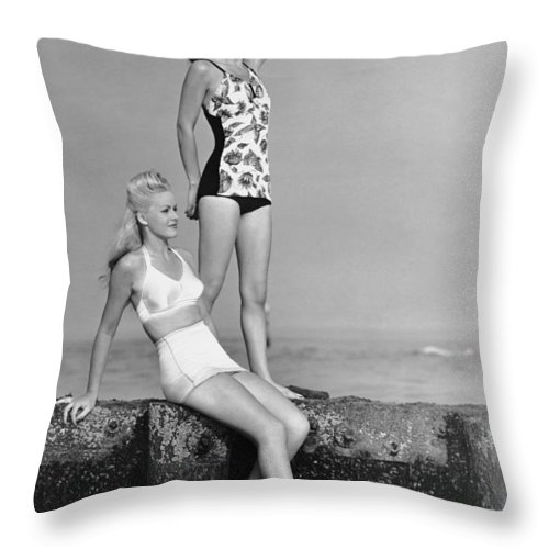 People Throw Pillow featuring the photograph Two Women In Bathing Suits by George Marks