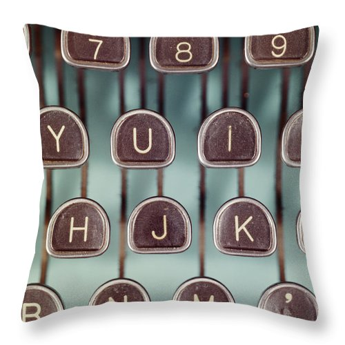 Typewriter Throw Pillow featuring the photograph Typewriter Keys, Close-up by Tom Kelley Archive