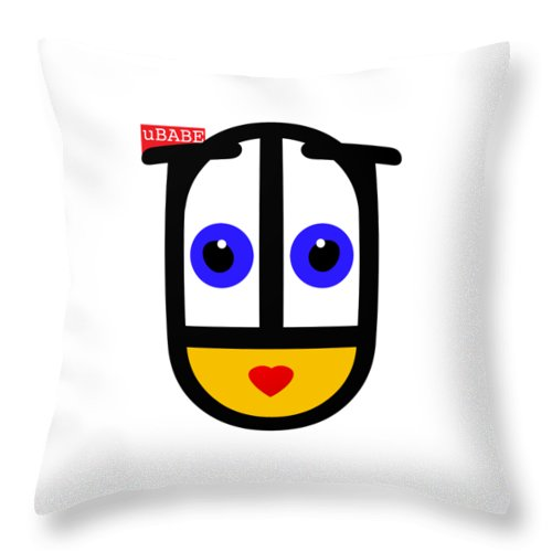 Ubabe Face Throw Pillow featuring the digital art uBABE Logo by Ubabe Style