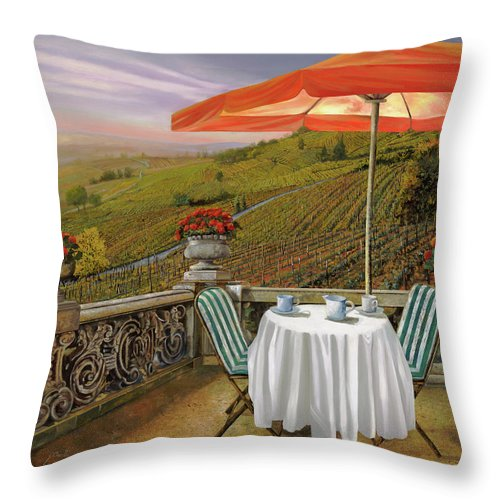Vineyard Throw Pillow featuring the painting Un Caffe' Nelle Vigne by Guido Borelli