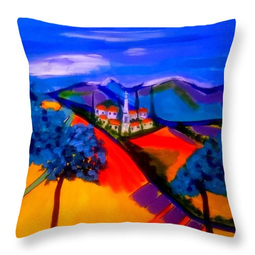 Provence Throw Pillow featuring the painting Un Village En France by Rusty Gladdish