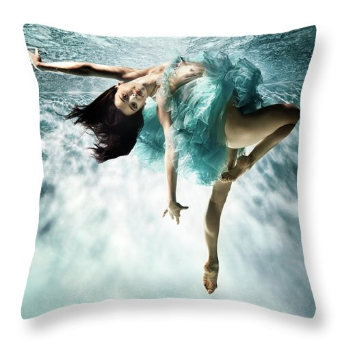 Ballet Dancer Throw Pillow featuring the photograph Underwater Ballet by Henrik Sorensen