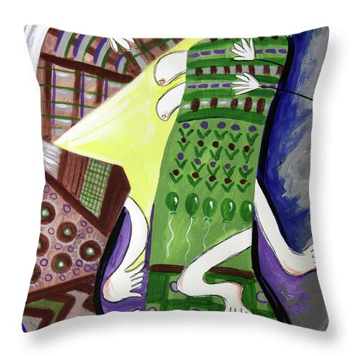 Cubism Throw Pillow featuring the painting Unexpected Love by Anthony Falbo