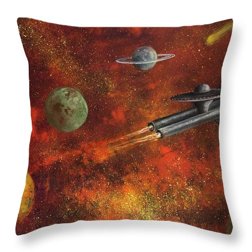 Space Throw Pillow featuring the painting Unidentified Flying Object by Randy Burns