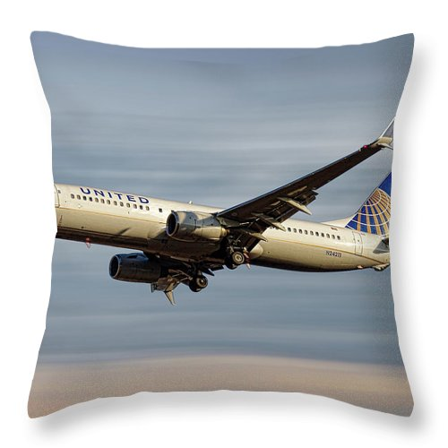 United Airlines Throw Pillow featuring the mixed media United Airlines Boeing 737-824 by Smart Aviation