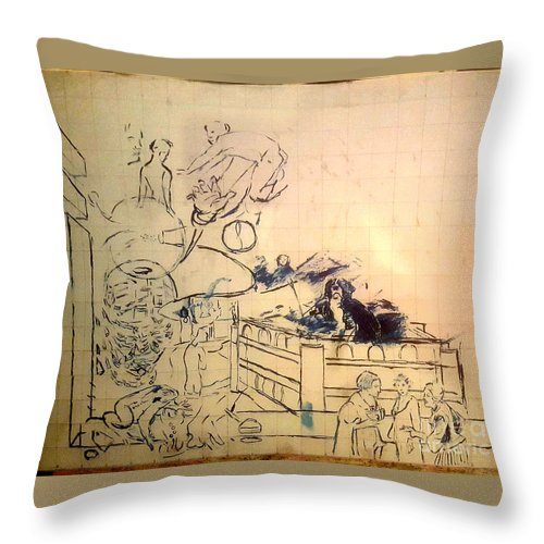 Throw Pillow featuring the painting Untitled unfinished by Jude Darrien
