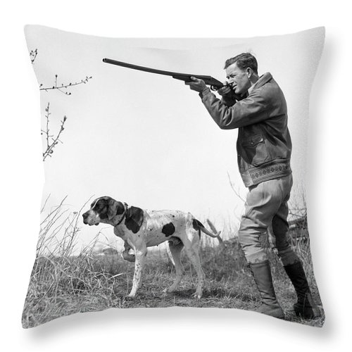 People Throw Pillow featuring the photograph Upland Bird Hunter With Pointer Dog by H. Armstrong Roberts