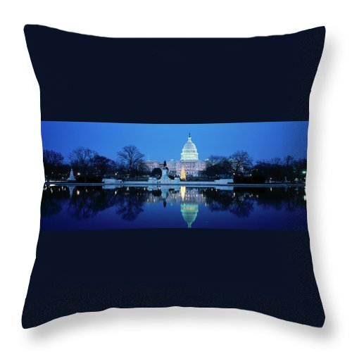 Scenics Throw Pillow featuring the photograph Us Capitol And Christmas Tree by Walter Bibikow