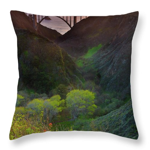 Tranquility Throw Pillow featuring the photograph Usa, California, Big Sur, Bixby Bridge by Don Smith
