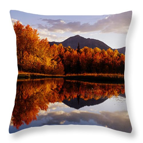 Water's Edge Throw Pillow featuring the photograph Usa, Colorado, Telluride, Sunrise Peak by Jeremy Woodhouse