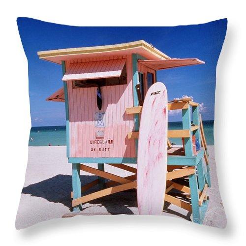 City Throw Pillow featuring the photograph Usa Florida Miami Beach Lifeguard by Buena Vista Images