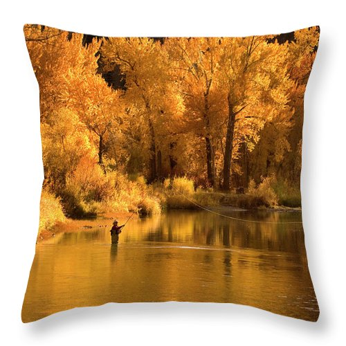 Orange Color Throw Pillow featuring the photograph Usa, Idaho, Salmon River, Mature Man by Steve Bly