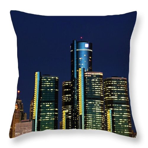 Detroit Throw Pillow featuring the photograph Usa, Michigan, Detroit, Skyline & by Walter Bibikow