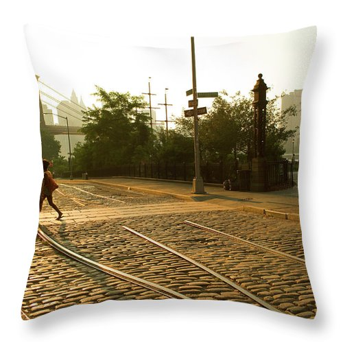 Pedestrian Throw Pillow featuring the photograph Usa, New York, Brooklyn, Woman Crossing by Maremagnum