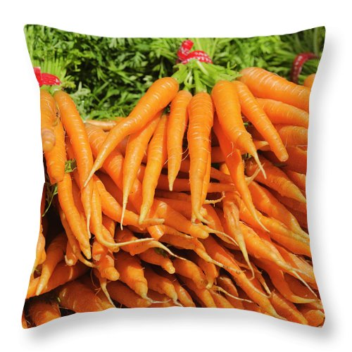 Large Group Of Objects Throw Pillow featuring the photograph Usa, New York City, Carrots For Sale by Tetra Images