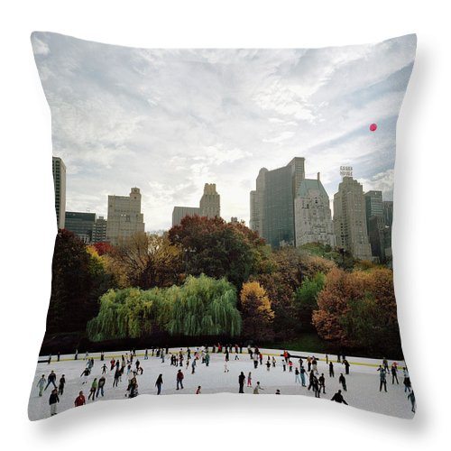 Child Throw Pillow featuring the photograph Usa, New York City, People Ice Skating by Carl Lyttle