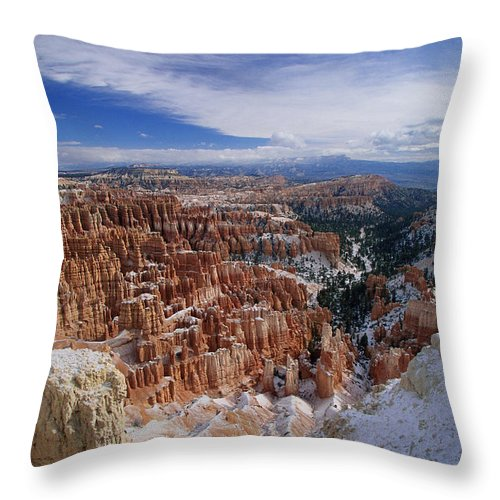 Snow Throw Pillow featuring the photograph Usa, Utah, Winter Bryce Canyon by Stan Osolinski