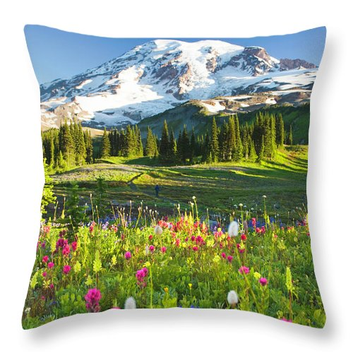 Scenics Throw Pillow featuring the photograph Usa, Washington, Mt. Rainier National by Rene Frederick
