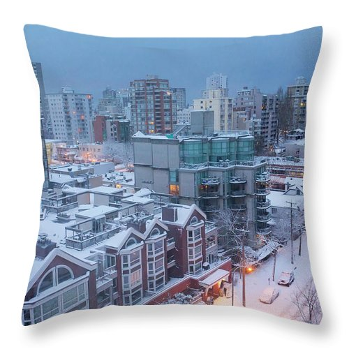 Tranquility Throw Pillow featuring the photograph Vancouver West End Buildings Under by Julius Reque