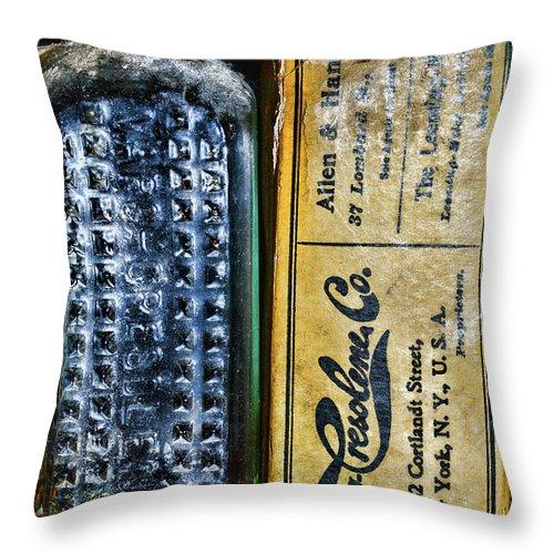Paul Ward Throw Pillow featuring the photograph Vapo-cresolene Vaporizer Liquid Poison Bottle by Paul Ward