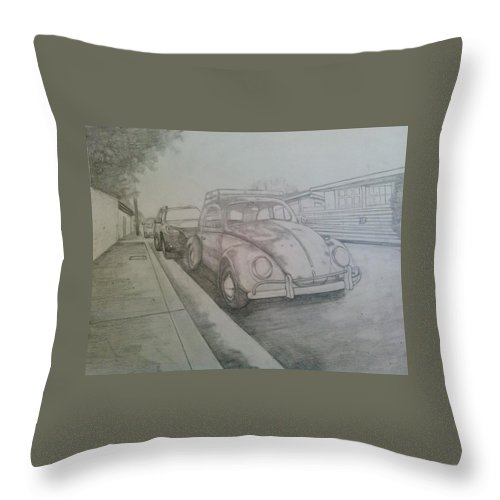 Drawing Of Vw Throw Pillow featuring the drawing Vdub by Andrew Johnson