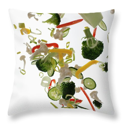 Broccoli Throw Pillow featuring the photograph Vegetables Against A White Background by Dual Dual