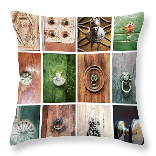 Veneto Throw Pillow featuring the photograph Venetian Door Knobs by Dori Oconnell