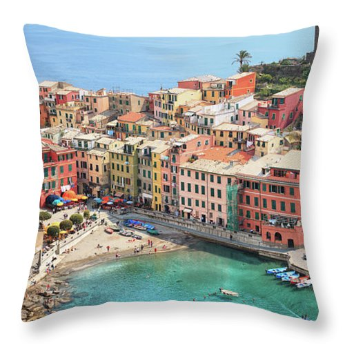 Water's Edge Throw Pillow featuring the photograph Vernazza by Borchee