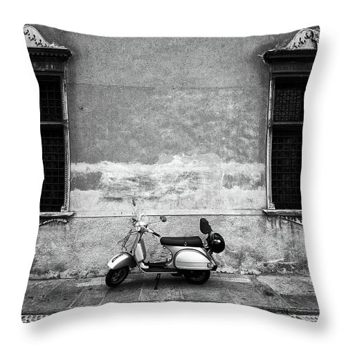 Two Objects Throw Pillow featuring the photograph Vespa Piaggio. Black And White by Claudio.arnese