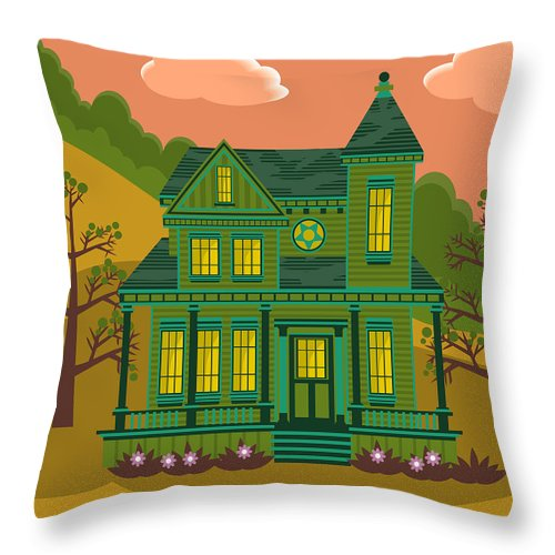 Victorian Style Throw Pillow featuring the digital art Victorian House by Sam Morrison