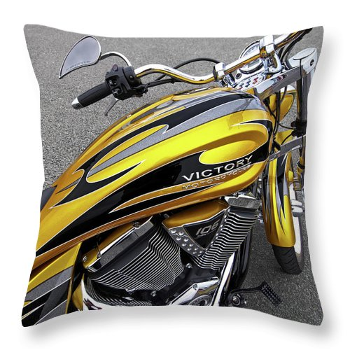 Motorcycle Throw Pillow featuring the photograph Victory Motorcycle 106 Gas Tank And V-twin Engine by Gill Billington