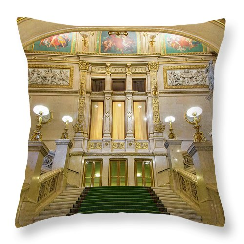 History Throw Pillow featuring the photograph Vienna Opera House, The Main Hall by Sylvain Sonnet