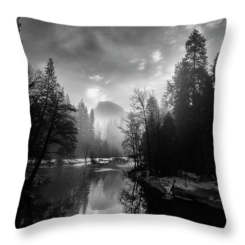 Fog Throw Pillow featuring the photograph View Of Half Dome II by Jon Glaser