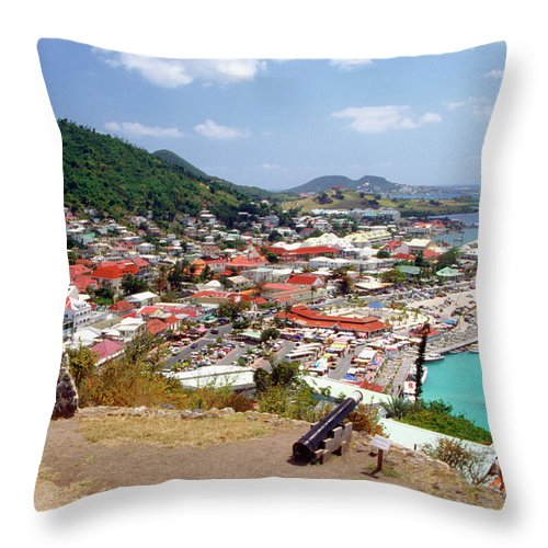 Scenics Throw Pillow featuring the photograph View Of Marigot Bay From St. Louis by Medioimages/photodisc