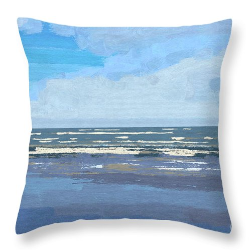 Gulf Throw Pillow featuring the painting View Of The Texas Gulf by D Tao
