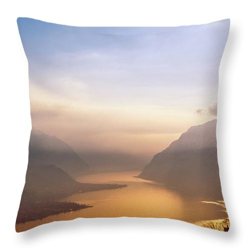 Scenics Throw Pillow featuring the photograph View Over Como Lake by Deimagine