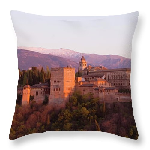 Scenics Throw Pillow featuring the photograph View To The Alhambra At Sunset by David C Tomlinson